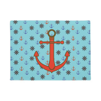 Blue and Red Nautical Anchor and Wheels  Door Mat