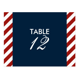 Blue and Red Nautical Table Number Postcard