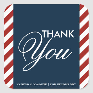 Blue and Red Nautical Wedding Thank You Sticker