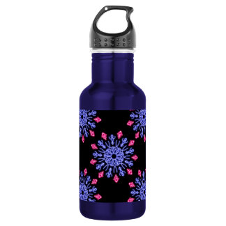 Blue and red neon flower 532 ml water bottle