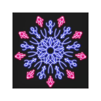 Blue and red neon flower canvas print