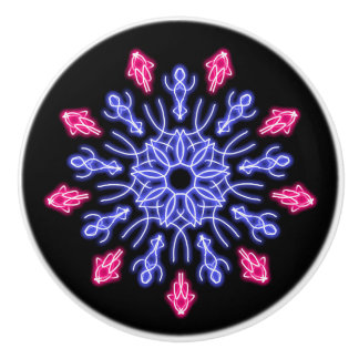 Blue and red neon flower ceramic knob
