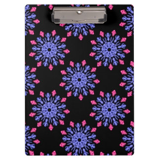 Blue and red neon flower clipboard