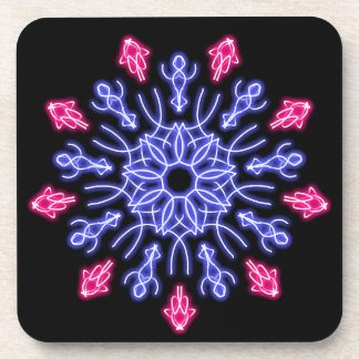 Blue and red neon flower coaster