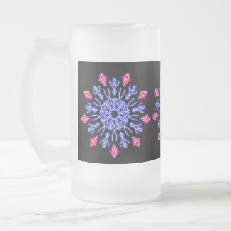 Blue and red neon flower frosted glass beer mug