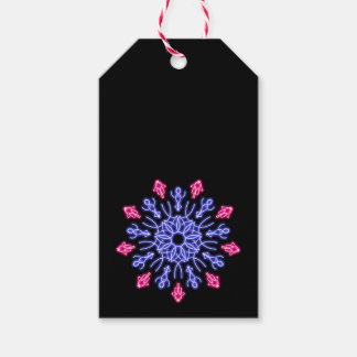 Blue and red neon flower gift tags