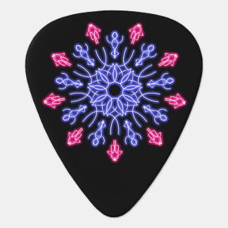Blue and red neon flower guitar pick