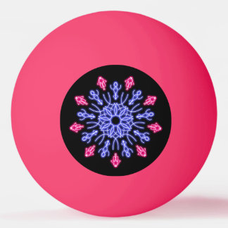 Blue and red neon flower ping pong ball