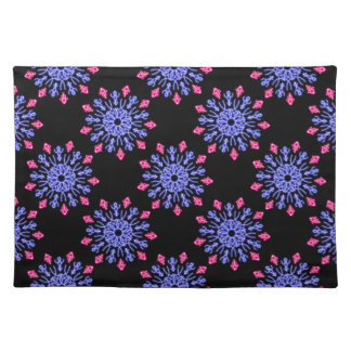 Blue and red neon flower placemat