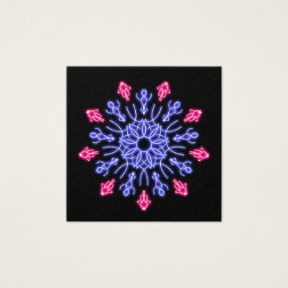 Blue and red neon flower square business card