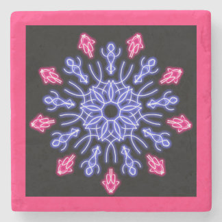 Blue and red neon flower stone coaster