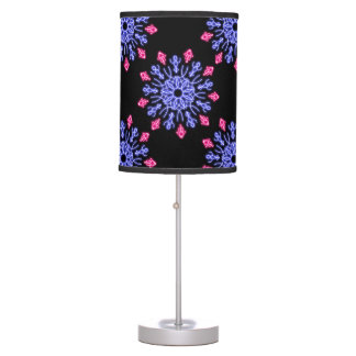 Blue and red neon flower table lamp