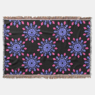 Blue and red neon flower throw blanket