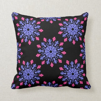Blue and red neon flower throw pillow