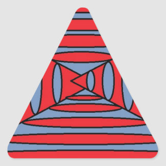Blue and red ovals triangle sticker