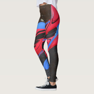 Blue and red paint on black leggings