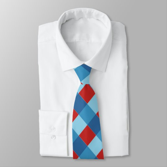 Blue and Red plaid design Tie