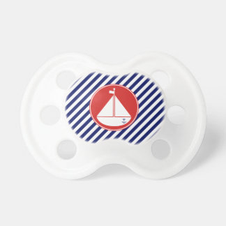Blue and Red Sailboat Pacifier