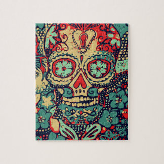 Blue And Red Skull Jigsaw Puzzle