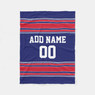 Blue and Red Sports Stripes Custom Name Number Fleece Blanket