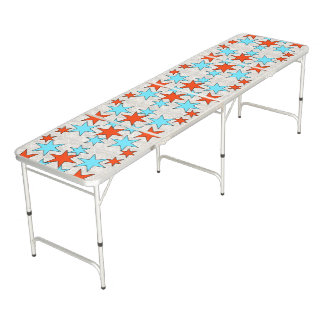 Blue and Red Star Print Beer Pong Table
