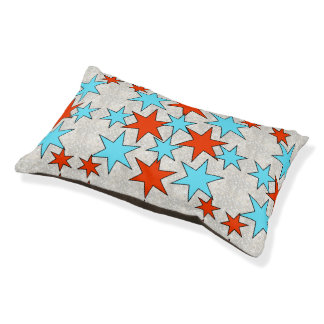 Blue and Red Star Print Pet Bed