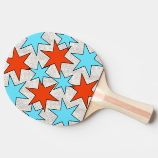 Blue and Red Star Print Ping Pong Paddle
