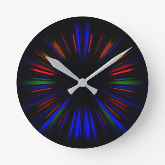 Blue and red starburst pattern clocks