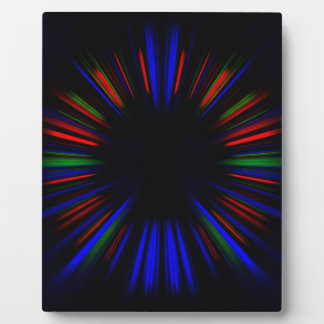 Blue and red starburst pattern plaque