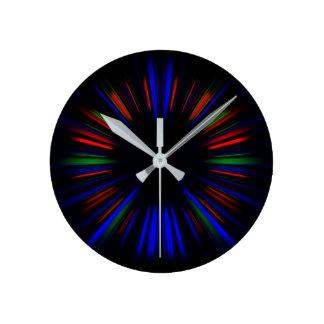 Blue and red starburst pattern round clock