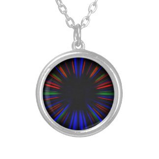 Blue and red starburst pattern silver plated necklace