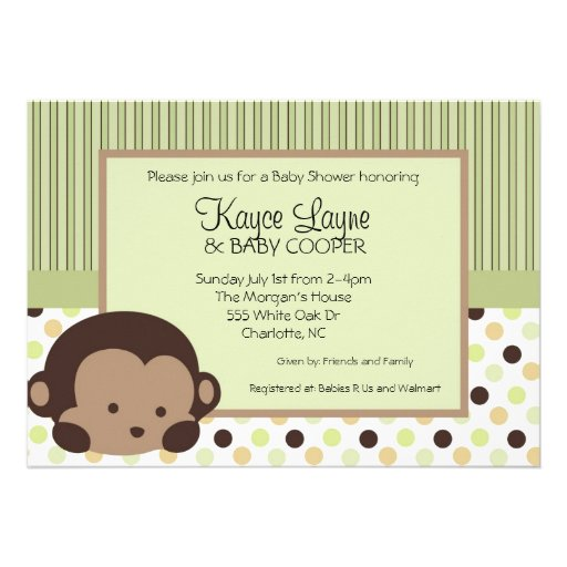 Blue and Red Stripes and Dots Monkey Invitation