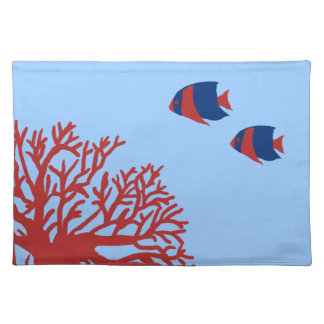 Blue and Red Tropical Angelfish Place Mats