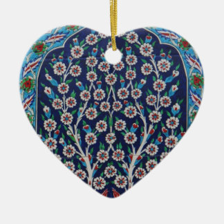 Blue and Red Turkish tiles TREE OF LIFE Ceramic Heart Ornament