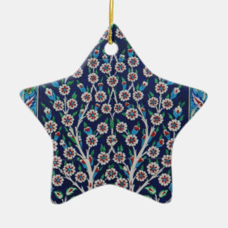Blue and Red Turkish tiles TREE OF LIFE Ceramic Star Ornament