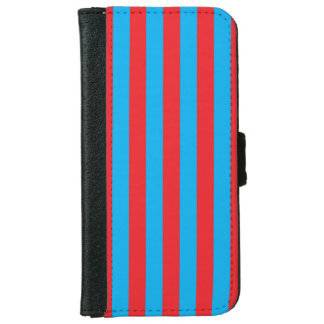 Blue and Red Vertical Stripes iPhone 6 Wallet Case