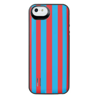 Blue and Red Vertical Stripes iPhone SE/5/5s Battery Case