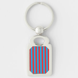 Blue and Red Vertical Stripes Keychain