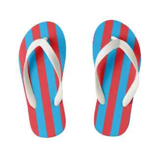 Blue and Red Vertical Stripes Kid's Flip Flops