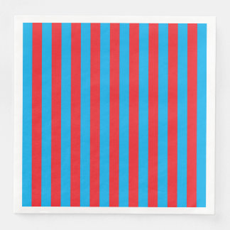 Blue and Red Vertical Stripes Paper Napkin