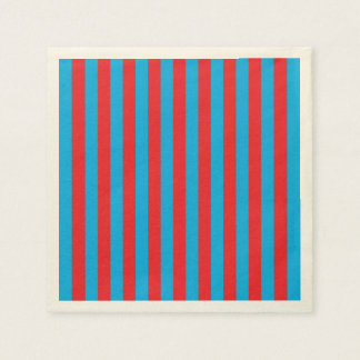 Blue and Red Vertical Stripes Paper Napkins