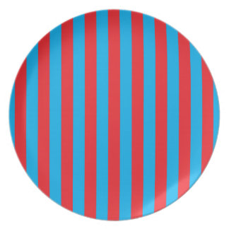 Blue and Red Vertical Stripes Plate