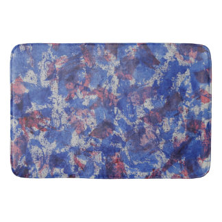 Blue and Red Watercolor Bathroom Mat