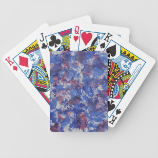 Blue and Red Watercolor Bicycle Playing Cards