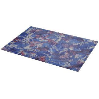 Blue and Red Watercolor Cutting Board