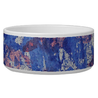 Blue and Red Watercolor Dog Water Bowl