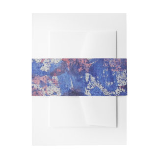 Blue and Red Watercolor Invitation Belly Band