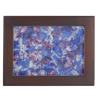 Blue and Red Watercolor Keepsake Box