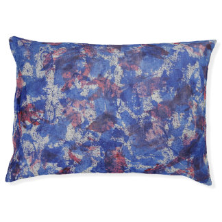 Blue and Red Watercolor Large Dog Bed