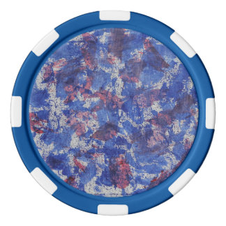 Blue and Red Watercolor Poker Chip Set